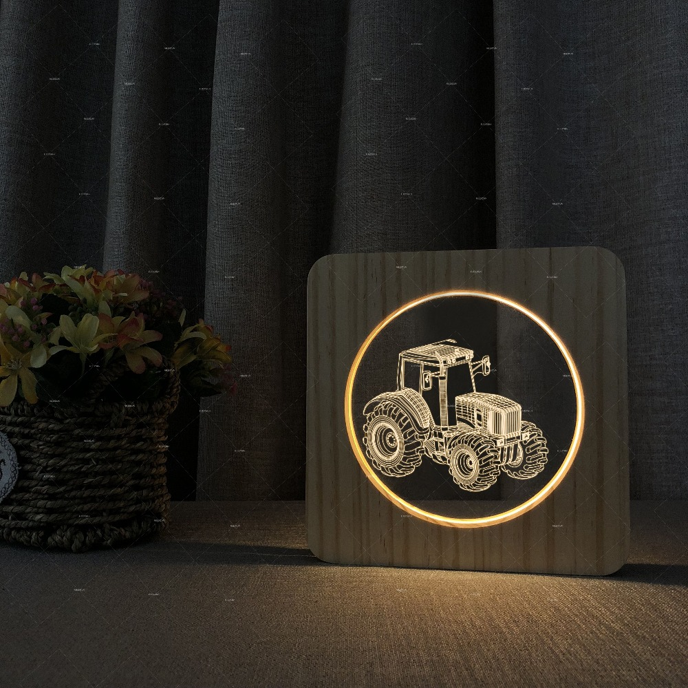 Tractor Wooden Acrylic Lamp Car Addiction 3D LED Night Light With Warm White Colors For Home Decoration Best Gift For Farmers