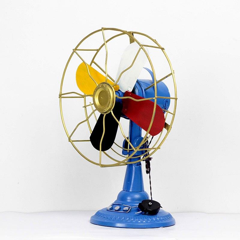 Rétro nostalgique ventilateur ornements métal artisanat décoration de la maison accessoires Vintage ventilateur Miniature Figurines décor à la maison cadeaux ornement