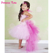 Summer Girl Princess Tutu Dress Hem Trailing Tulle Dress Kid Baby Girl Pageant Festival Birthday Party