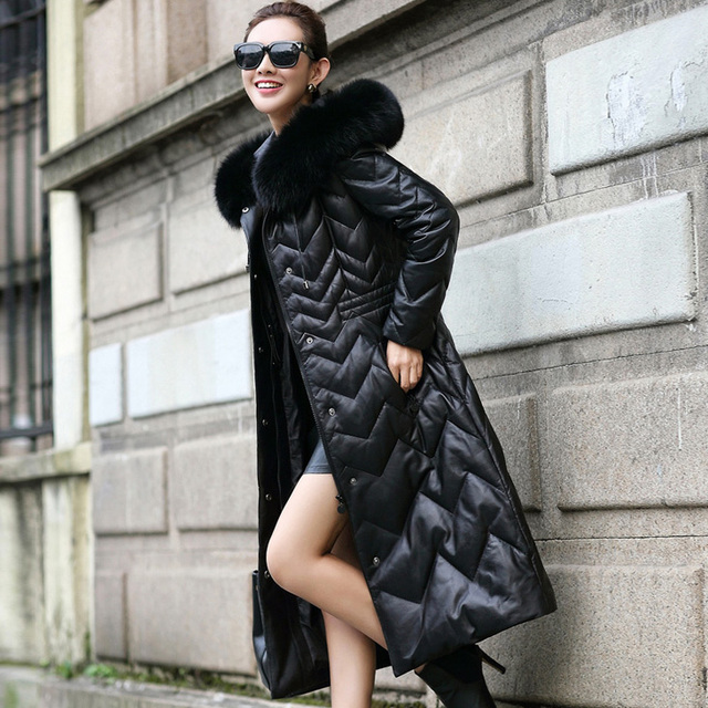 1c05dc41b6 Leather suede sheepskin coat real fox fur genuine leather down coat for  women new winter female long design New Phoenix 51205A