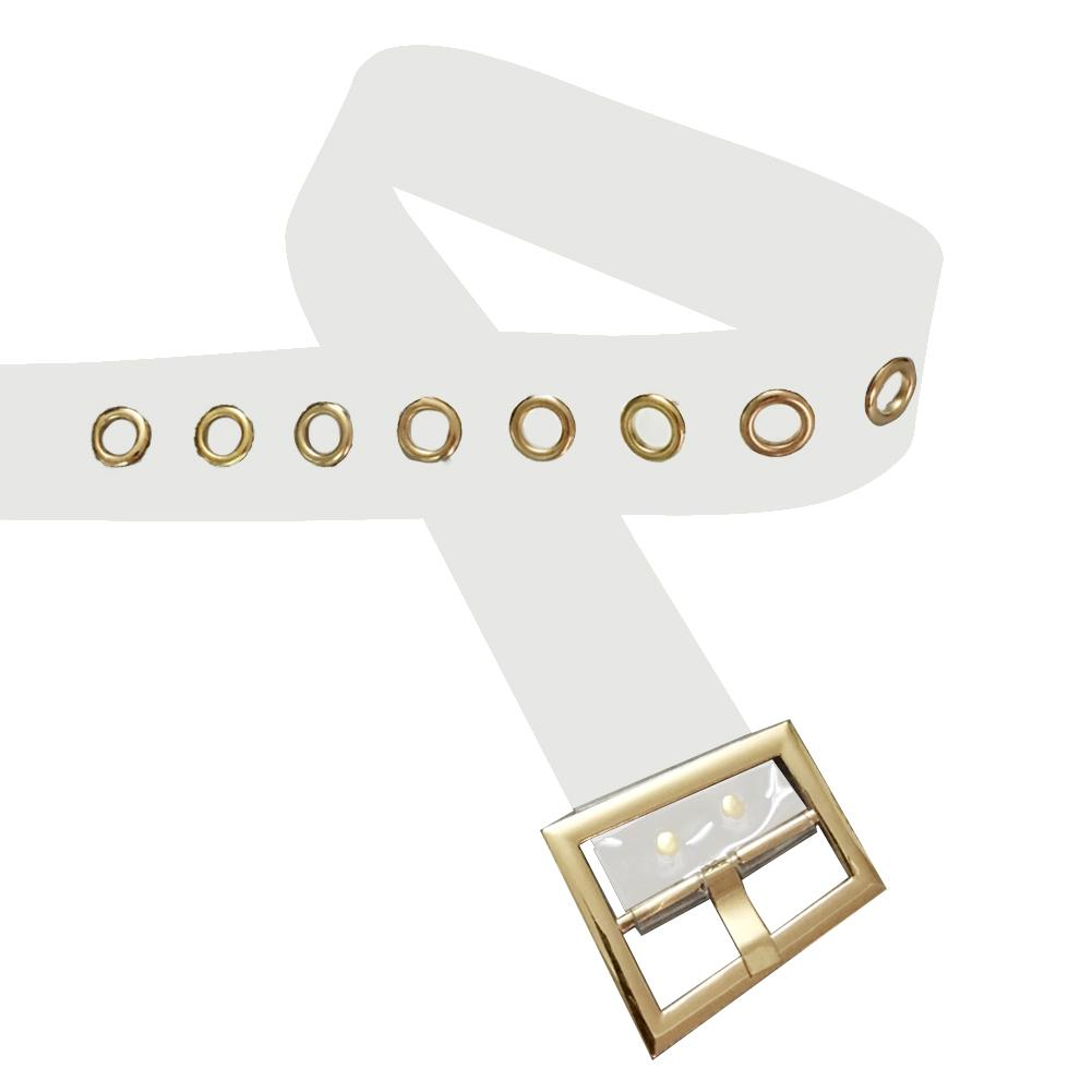 Transparent PVC Belt Fashionable Golden Metal Buckle Wide Waist Belts Band For Woman Dress Jane Jeans Pants Clear Bands in Women 39 s Belts from Apparel Accessories