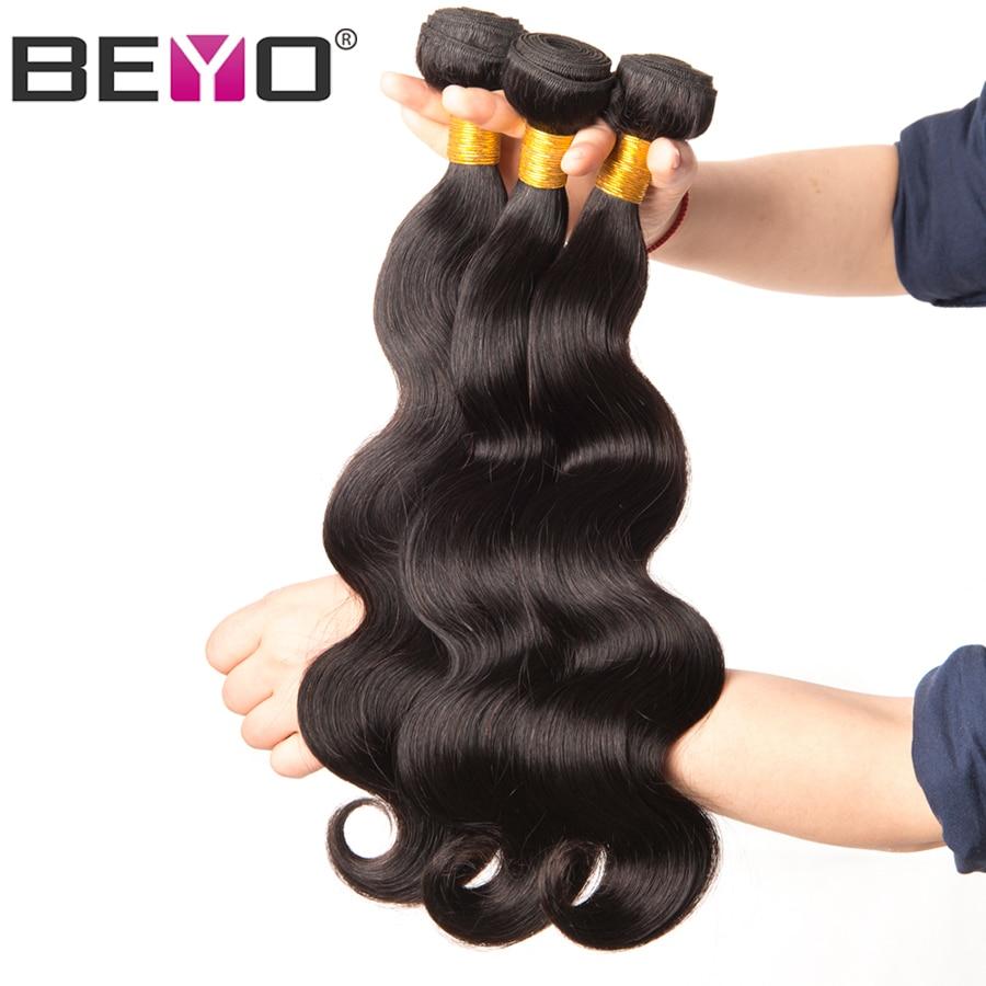 Beyo Hair Peruvian Body Wave Hair Bundles 10-26 Inch 100% Human Hair Bundles Natural Color Can Be Dyed 1PCS Non-Remy Hair Weave