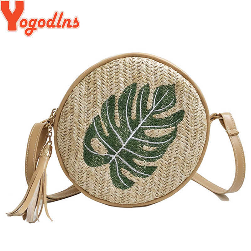 Yogodlns, bolso trenzado de paja bordado, moderno, redondo, informal, bandolera, para mujer