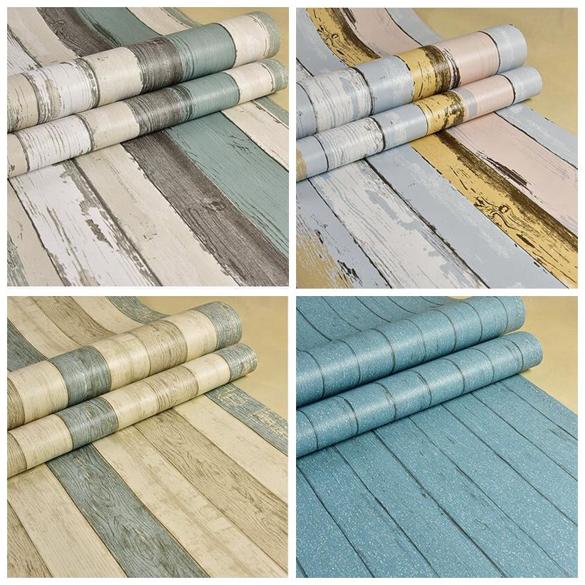 m papel pintado rollo de pvc impermeable etiqueta de la pared muebles vinilo decorativo pelcula de madera estil