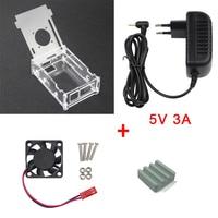 Transparent Acrylic Case For Orange Pi PC 5V 3A Power Supply Adapter Ceramic Heat Sink Fan