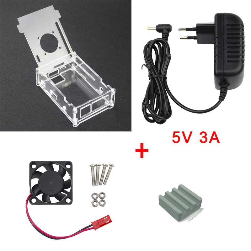 Transparent Acrylic Case for Orange Pi PC + 5V 3A Power Supply Adapter + Ceramic Heat Sink + Fan Compatible Orange Pi PC Plus