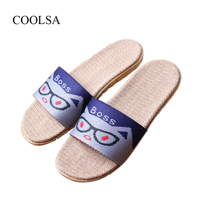 COOLSA Men's New Arrival Cartoon Cat Prints Non-slip Breathable Linen Slippers Indoor Home Flax Hemp Slippers Men's Slides Hot coolsa women s summer flat non slip linen slippers indoor breathable flip flops women s brand stripe flax slippers women slides