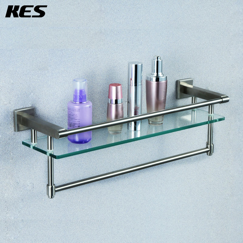 Aliexpress.com : Buy KES A2225 2 SUS304 Stainless Steel Bathroom Glass Shelf  Wall Mount With Towel Bar And Rail, Brushed Finish From Reliable Sus304 ...