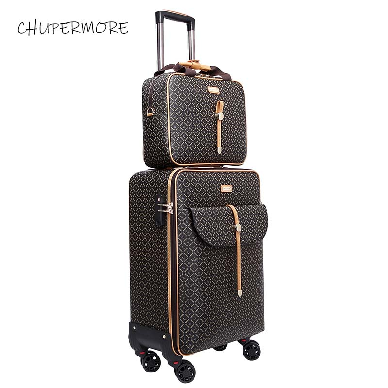 Fashion internation Retro Brand Rolling Luggage Set Spinner Women High capacity Suitcase Wheels 16 20 24