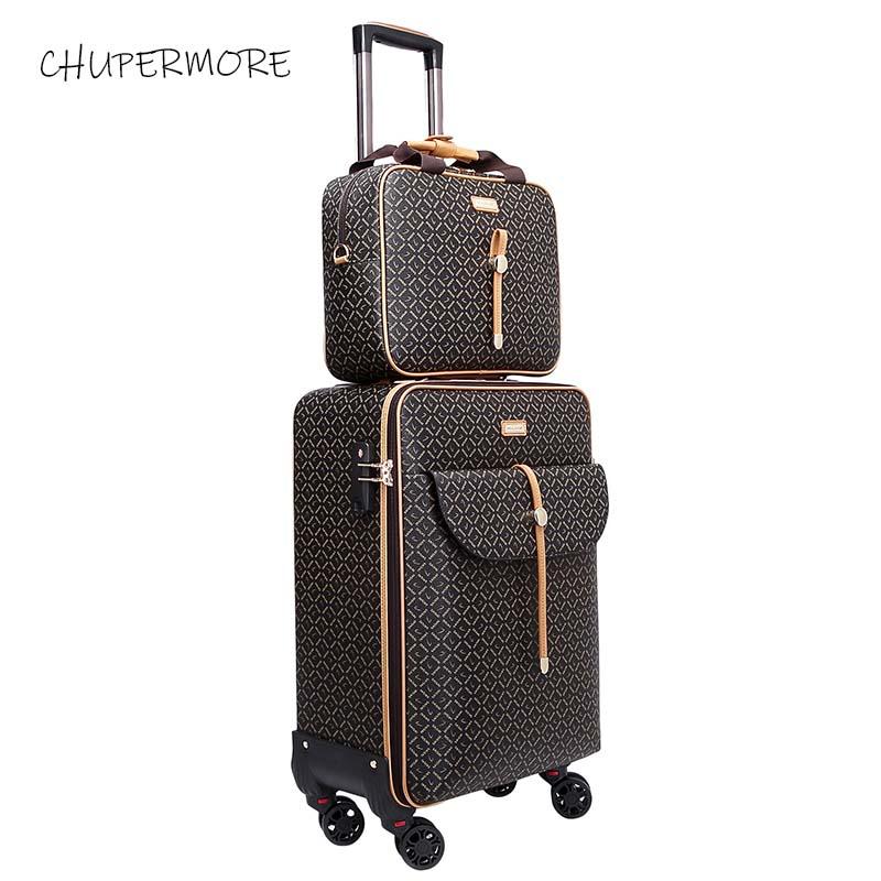 Moda międzynarodowe Retro marka zestaw walizek na kółkach Spinner kobiet o dużej pojemności walizka koła 16/20/24 cal wózek w Zestawy bagażowe od Bagaże i torby na  Grupa 1