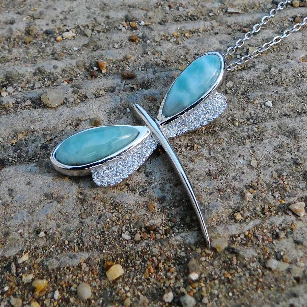Hermoso 100% Plata de Ley 925 con Real Natural Larimar CZ colgante collar libélula encanto para mujeres sin cadena