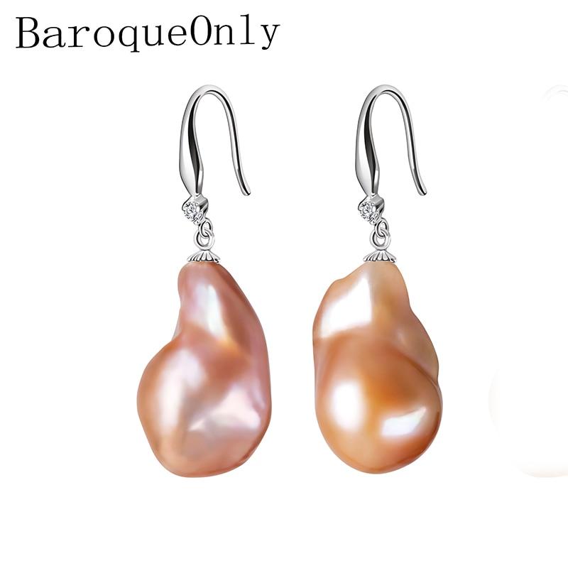 BaroqueOnly Genuine Baroque Yellow Pearl Earrings, Trendy Earrings Fine Jewelry 14-23mm Irregular Pearl Earrings for Women Gifts pair of sweet rhinestone faux pearl irregular earrings for women