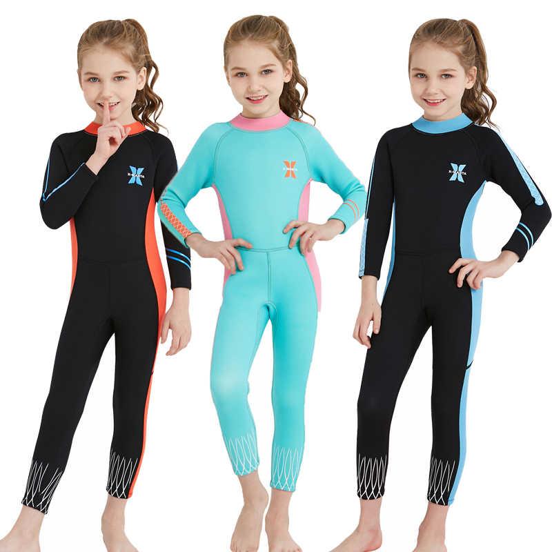 2018 Scuba Wetsuit Anak-anak Perempuan 2.5 Mm Neoprene Menyelam Suit Termal Hangat Gadis Pakaian Renang Neoprene Celana Berenang Ruam Penjaga