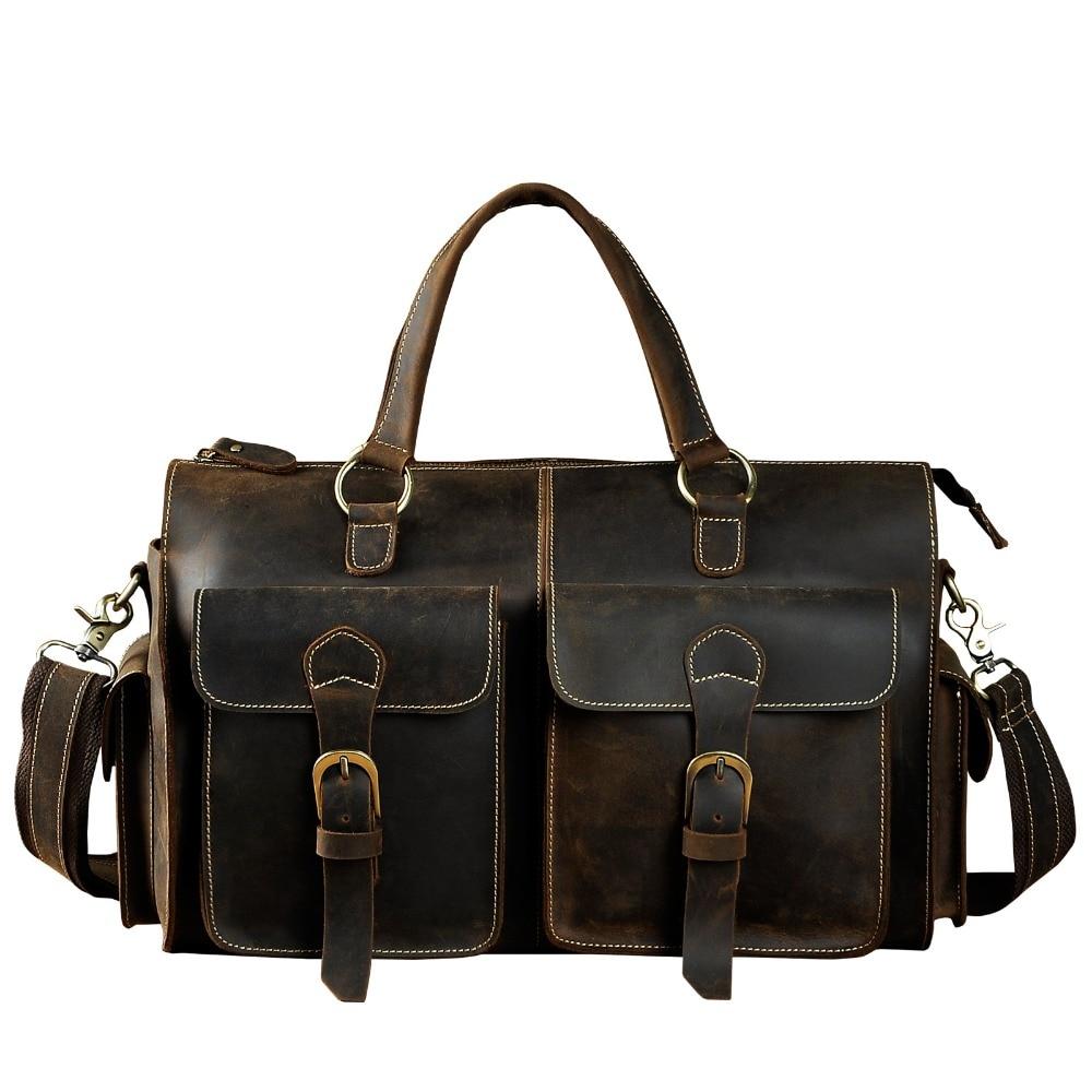 Mens Original Leather Heavy Dudy Designer Travel Briefcase Fashion Portfolio Organizer Tote Laptop Shoulder Messenger Bag 1097