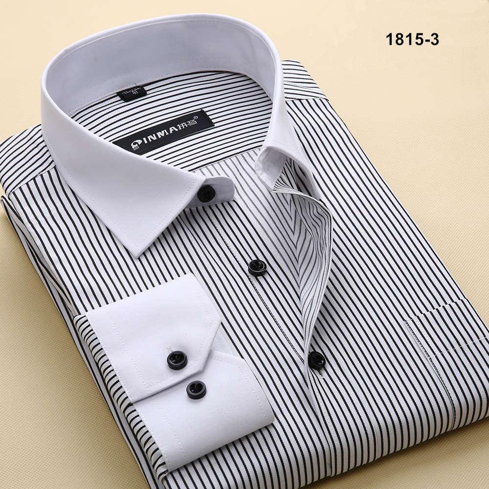 Брендовые мужские рубашки в полоску с отложным воротником, Повседневная Деловая официальная рубашка, Высококачественная Мужская рубашка с длинным рукавом - Цвет: 18153