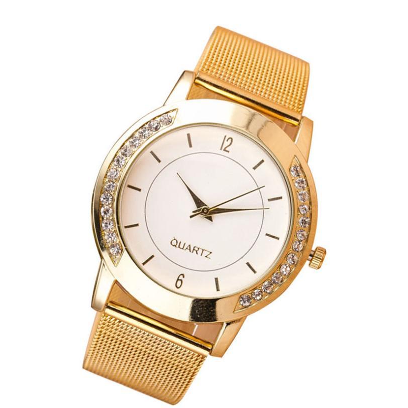b0d62214912 Hothot2017 quente Mulheres Da Moda Cristal de Ouro Analógico Quartz Relógio  de Pulso Pulseira