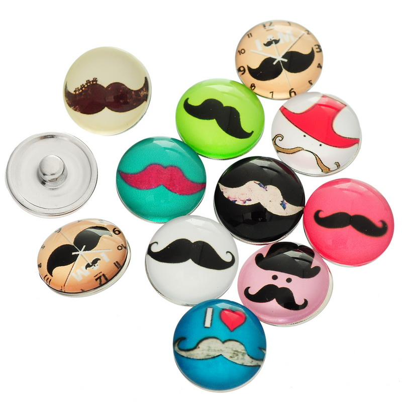 10Pcs Snap Press Buttons Fit Snap Press Bracelet Beard Mustache Mixed Round Glass Click Crafts Making 18mm image