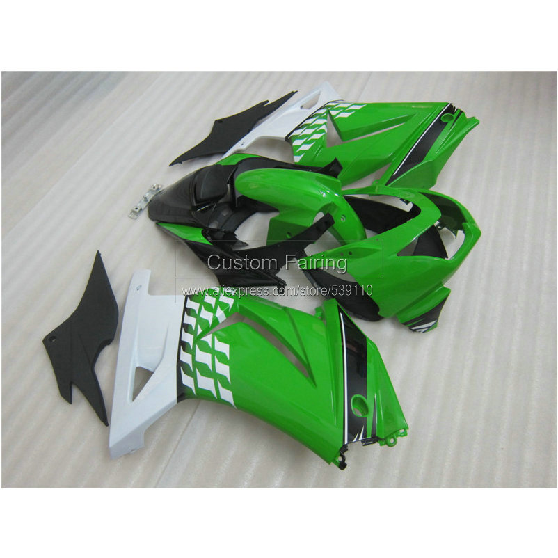 Injection molded ABS full Fairing kit for Kawasaki ninja 250r 2008-2012 2013 2014 green white black fairings EX250 08-14 RR23