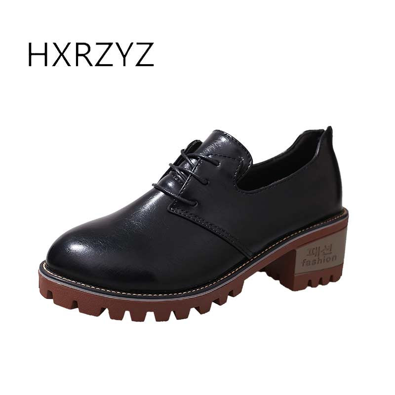 HXRZYZ spring/autumn new shoes woman ladies leather thick heel fashion style shoes lace-up rubber bottom women shoes black pumps 2017 spring autumn new genuine leather lace up oxford shoes female thick bottom flats shoes europe style martin shoe obuv
