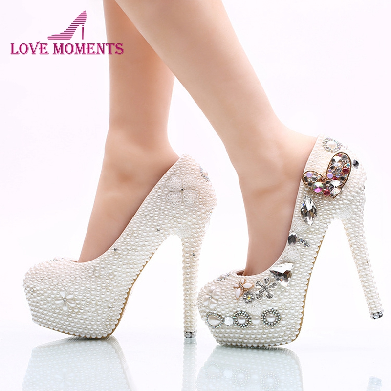 Handmade White Pearl Bridal Dress Shoes Heart Shape Crystal Wedding Shoes Women High Heel Platform Pumps Customized Color pure white pearl wedding dress shoes gorgeous red rhinestone heart shape women pumps 3 inches high heel bride shoes event pumps
