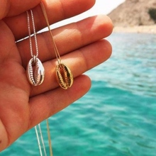 купить Bohemian  shell choker necklace rope chain Pendant necklace Fashion Ocean Sea  beach Necklaces Boho Shell Jewelry for women дешево