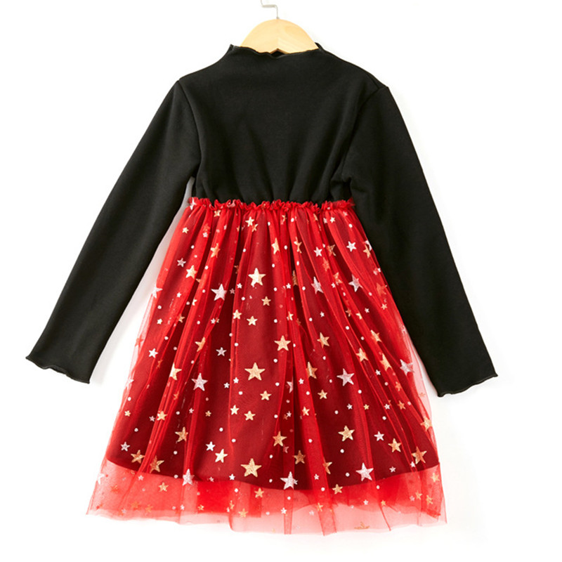 kids & big girls long sleeve star print glitter bling tull princess party dresses children fashion holiday christmas dress plus star print surplice wrap dress