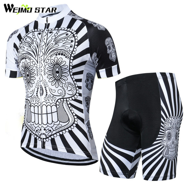 Weimostar Brand Pro Team Skull Cycling Jersey Set Summer Short Sleeve  Bicycle Clothing Breathable MTB Bike ad70e039b