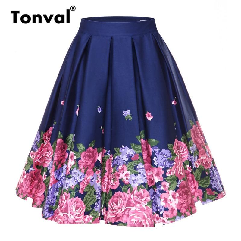 Tonval Retro Floral Print Vintage Pleated Skirts Womens 2018 High Waist Plus Size Midi Cotton Summer 4XL Swing Skirt