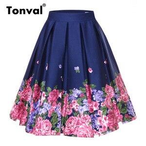 Image 1 - Tonval Retro Họa Tiết Vintage Xếp Ly Chân Váy Nữ 2019 Cao Cấp Plus Kích Thước Váy Midi Cotton Mùa Hè 4XL Đầm Váy