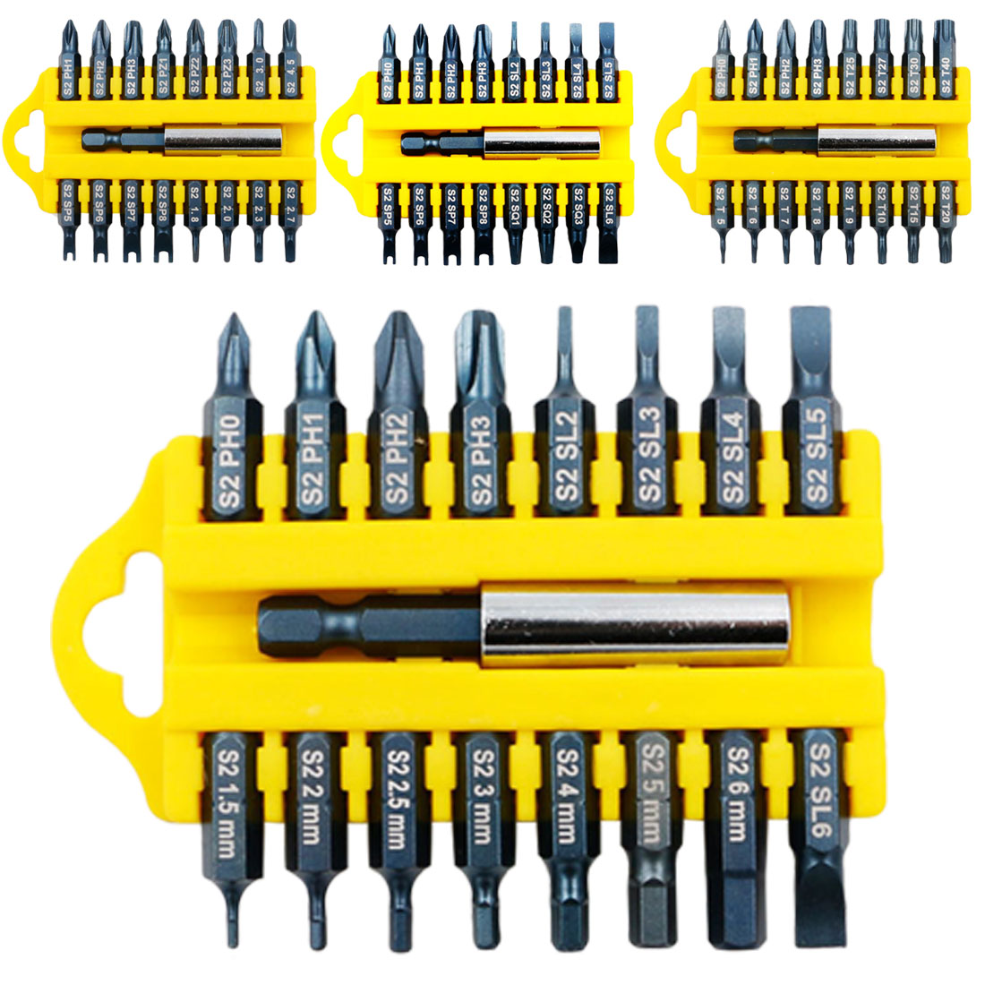 17pcs /set Steel Torx Hex Star Bit Set Magnetic Holder Screwdriver Bits Security Tamper Proof For Cordless Screwdrivers & Drills
