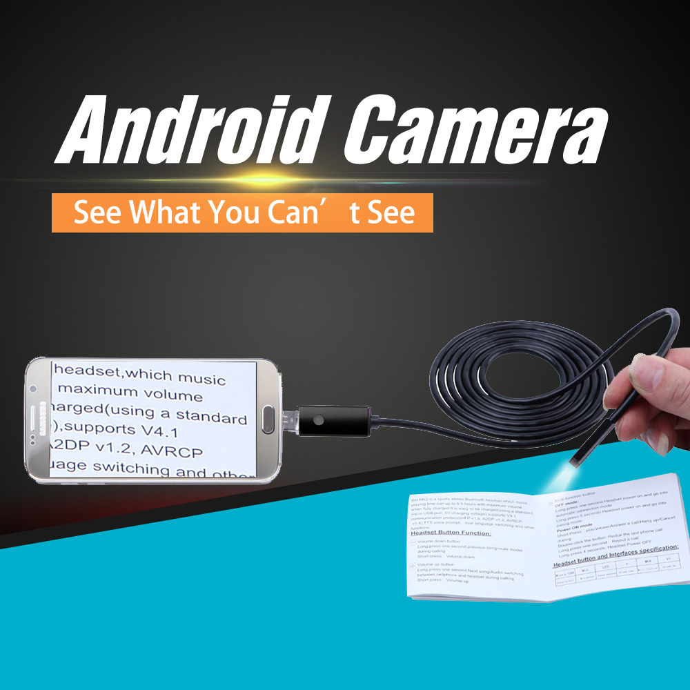 SANNCE 8MM 6LED 2IN1 Android Endoscope Micro USB Endoscope IP67 Waterproof Inspection Camera Video Cam For Andriod Phone And PC 7mm lens mini usb android endoscope camera waterproof snake tube 2m inspection micro usb borescope android phone endoskop camera