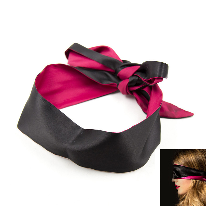 Party Game Sexy Soft Silk Satin Eye Mask Shade Blindfold Ribbon Reversible Bondage Patch Wedding Party Favor Decoration