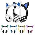 Moda Elegante Gato Fones De Ouvido para Jogos de Computador fone de Ouvido Fone de Ouvido com luz LED Para PC Computador Portátil Do Telefone Móvel