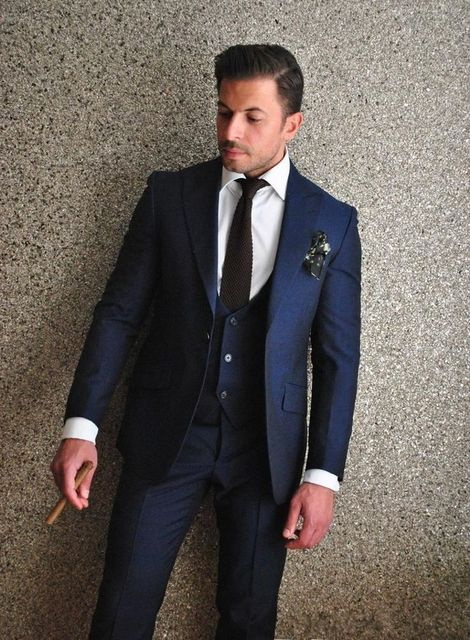 2017 Latest Coat Pant Designs Navy Blue Men Wedding Suits Slim Fit 3 Piece Custom Blazer