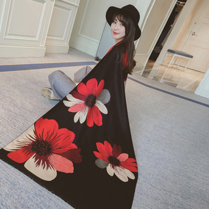 Image 5 - Mingjiebihuo new cashmere Poncho shawl with sleeves women in autumn and winter thick warm double sided solid tassel cloak girls