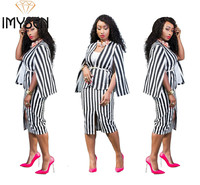 IMYSEN Summer Autumn Fashion Stripe Women Two Piece Set Cloak Sleeve Tops N Midi Skirts Suit