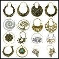 Par De Bronce Tribal Indio Cuentas Mandala Flor de Loto Diseño Espiral Pendiente de Gota de La Joyería Encanto Cuelga la Perforación Del Oído 16 Estilo