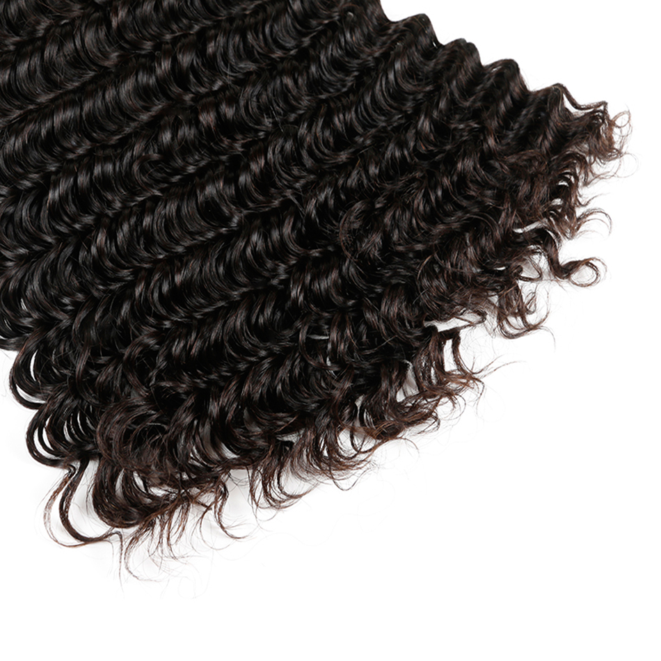 Malaysian Deep Wave Hair 1/3/4 pcs Bundles de tissage de cheveux - Cheveux humains (noir) - Photo 5