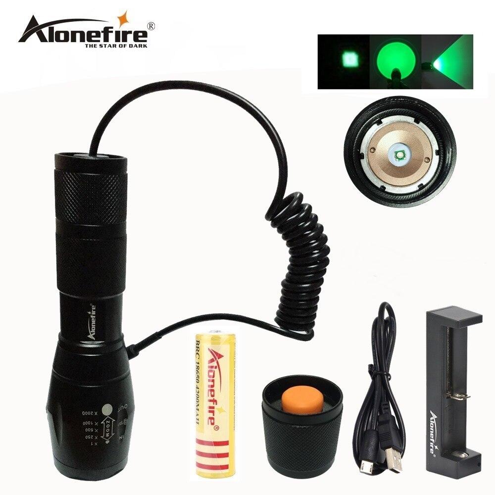 AloneFire E17 Grüne LED Licht Taktische Taschenlampe Zoomable Spot Flutlicht Taschenlampe Jagd Lampe mit Druck Schalter