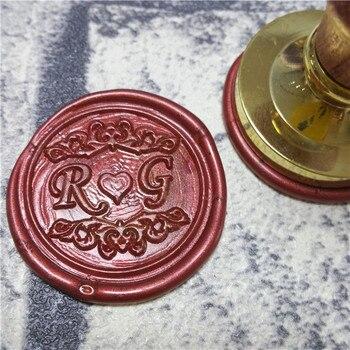Bricolage personnaliser double nom 2 initiales personnalisé lettre timbre/cire à cacheter/mariage cire sceau timbre personnalisé invitations enveloppe
