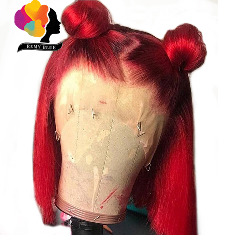 Red Bob Wigs Short Lace-Front-Wig Human-Hair Burgundy Remyblue Pre-Plucked Brazilian