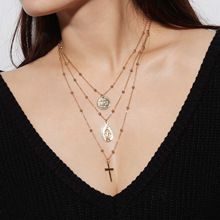 Retro-exaggerated personality Euro-model Necklace The Virgin Cross hangs a multi-layer copper bead necklace