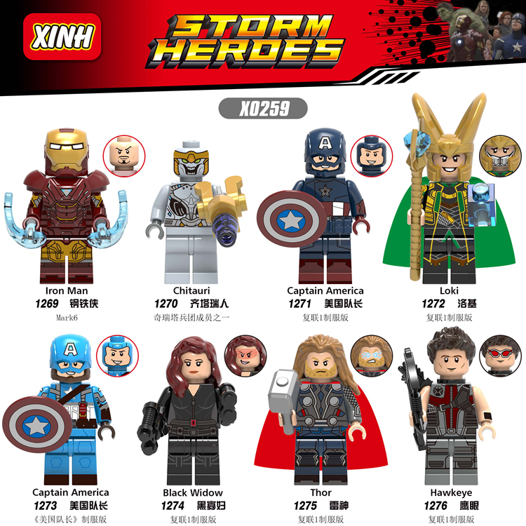 Avengers 4 Endgame Iron Man Captain America Hawkeye Black Widow Thor Figures For Compatible With Lego X0259-in Blocks from Toys & Hobbies