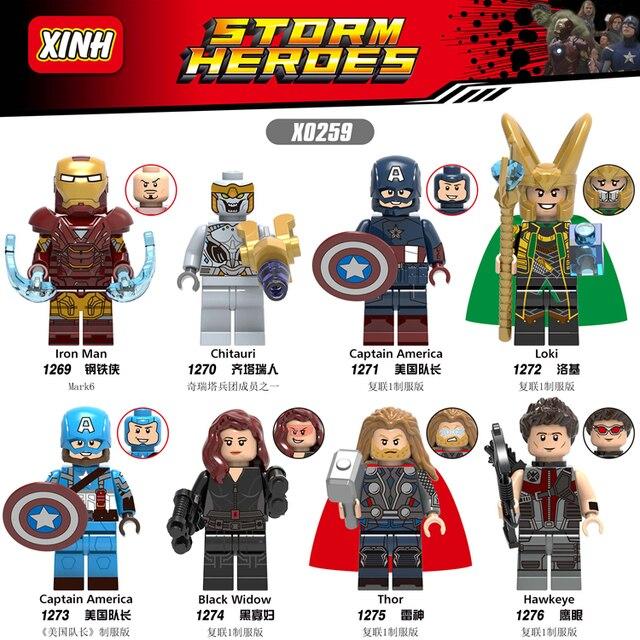 Avengers 4 Endgame Iron Man kapitan ameryka Hawkeye czarna wdowa Thor figurki kompatybilne z Lego X0259