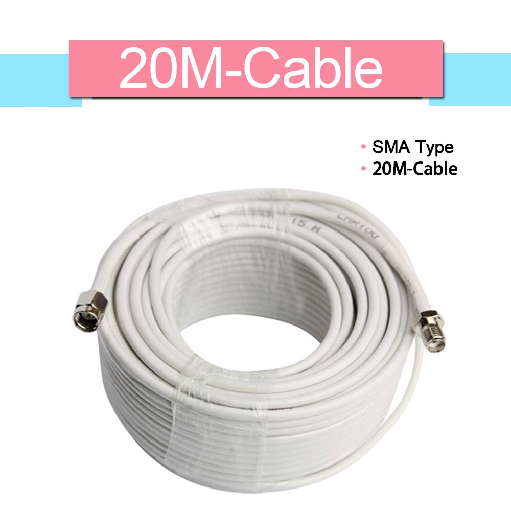 3D White 50ohm SMA Type 20 Meters Coaxial Cable 20m Communication Cable For Mobile Phone Signal Booster
