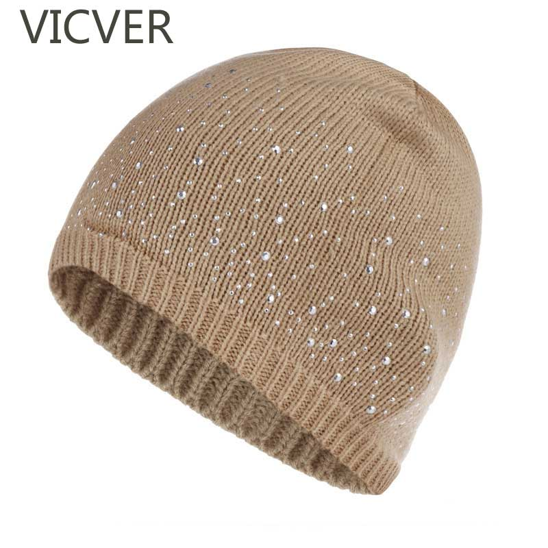 Beanie   Hat Women Winter Autumn Soft   Skullies     Beanies   Rhinestones Hat Knitted Woolen Cap Casual Fashion Female Slouchy Warm Caps
