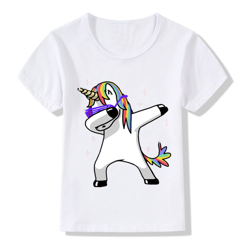 Children Dabbing Unicorn Cartoon Funny T-Shirts Kids Summer Tops Tees Girls Boys Short Sleeve T Shirt Rabbit/Cat Baby Clothes 2017 summer girls sets clothes short sleeve chiffon baby girls sets for kids big girls t shirts and stripe shorts children suits