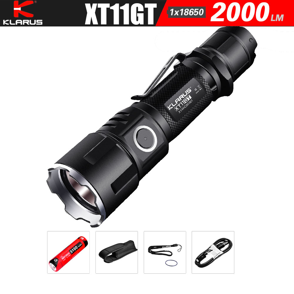 KLARUS XT11GT Newest CREE XHP35 HD E4 LED 2000 Lumen  Tactical Flashlight  USB charging by 3100 mAh 18650 Li-ion batteries new klarus xt11gt cree xhp35 hi d4 led 2000 lm 4 mode tactical led flashlight free usb port and 18650 battey for self defence