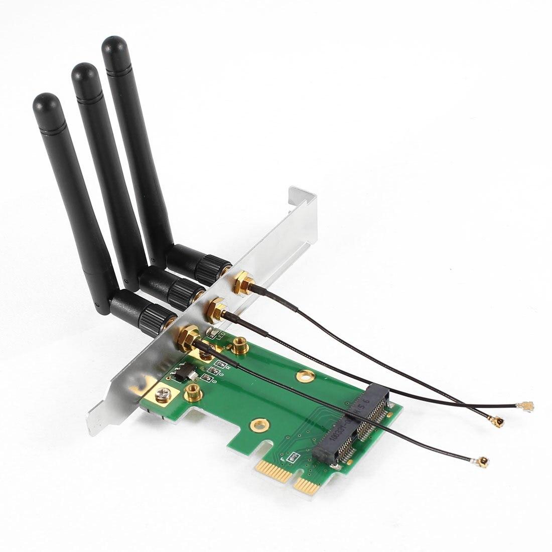 CAA Hot Mini PCI-E Express to PCI-E Wireless Adapter w 3 Antenna WiFi for PC