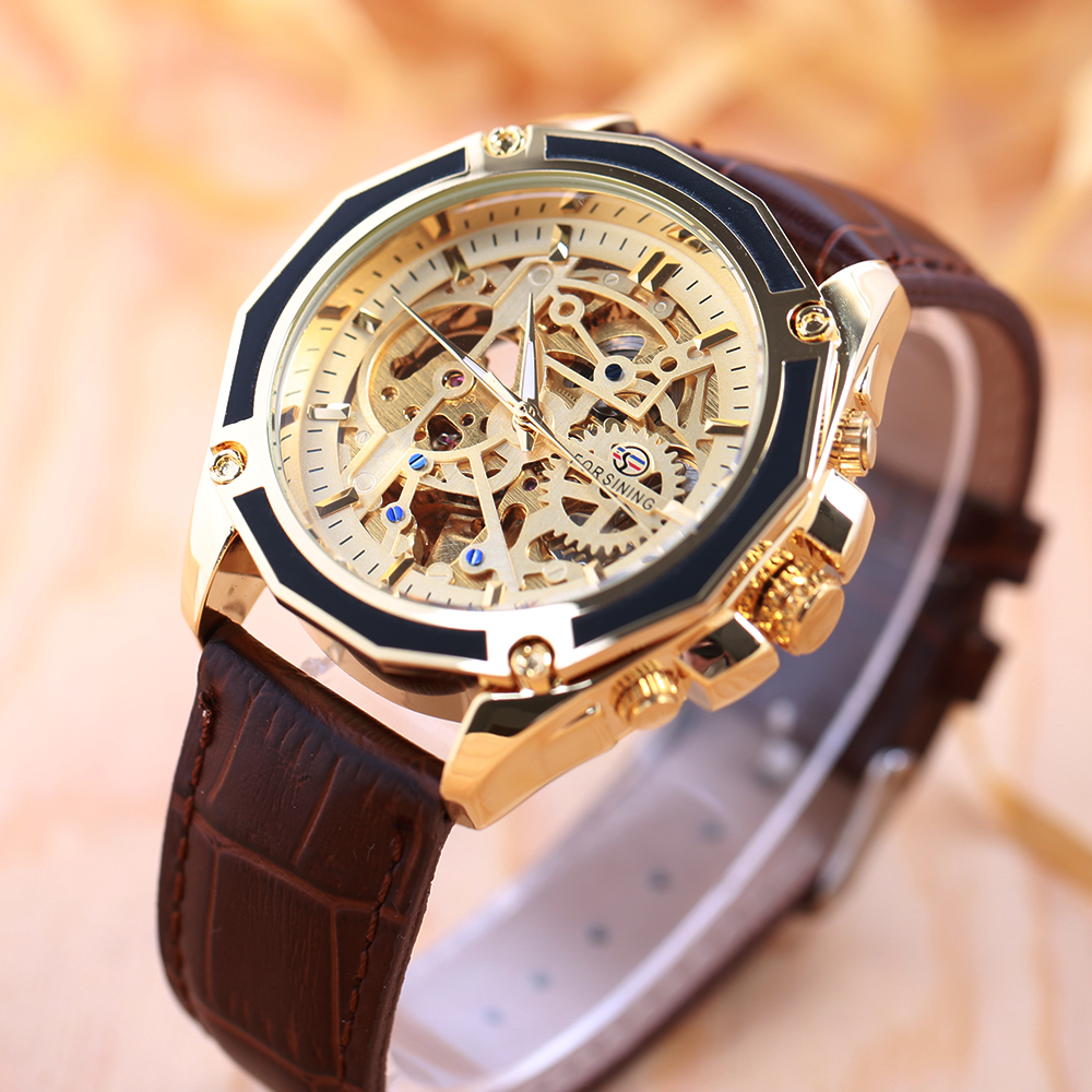 FORSINING Business Men Automatiska Mekaniska Watch Leather Strap - Herrklockor - Foto 3